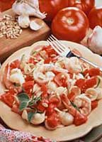 Almost Instant Tomato Sauce with Shrimp and Pine Nuts